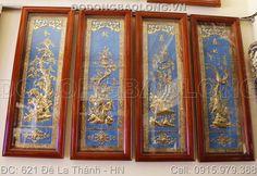 Tranh tứ quý treo phòng khách gia đình kích thước 1m2 x 40cm được gò thủ công từ tấm đồng vàng dày 6 rem, tranh tứ quý treo phòng khách rất sang trọng