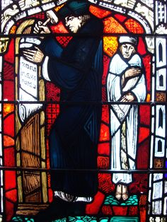 Luther Posting 95 thesis Window at The American Church in Paris.