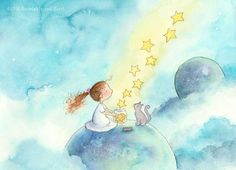 Whimsical Children, Starry Skies, and Bold Hats by AmariahRauscher Angel Drawing, Dibujos Cute, Star Art, Cute Drawings, Cute Art, Watercolor Paintings, Fine Art Prints, Illustration Art, Sketches