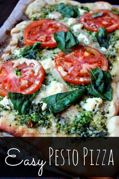Easy Pesto Pizza Recipe  - combines the fresh flavors of Tomato, pesto and goat cheese to make a gourmet pizza at home.