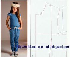 MOLDE BASE MACACÃO CRIANÇA TAMANHO 116/6 ANOS - Moldes Moda por Medida