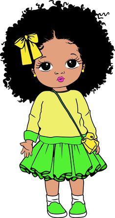 Black Girl Cartoon, Black Girl Art, Black Women Art, Art Girl, Baby Clip Art, Baby Art, Afro Ponytail, Cute Bunny Cartoon, African Art Paintings
