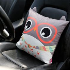 Creative owl pillow cartoon glasses design car decorative pillows