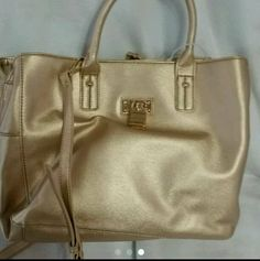 Tommy Hilfiger Alexa Convertible Medium Shopper Metallic Gold Tote Bag Purse #TommyHilfiger #TotesShoppers