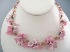I WANT THIS MORE THAN ANYTHING ELSE HERE!  Vintage Pink Molded Art Glass Flower Bead Cluster Necklace | eBay