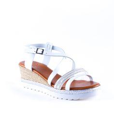 6d15b75e1254 FI150 BR Blanc chaussures compensées pour femme fi150 br de la marque  porronet en cuir blanc