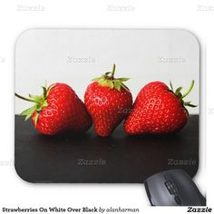 Strawberries On White Over Black Mouse Pad