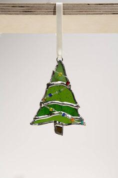 Gebrandschilderd glas kerstboom handgemaakte sieraad