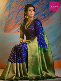 Ms blue with bottle green pure kanchipuram silk saree. #dazzling_diwali #anyacbe #festiveseason #trendy #ethnic #silk www.anyaonline.in
