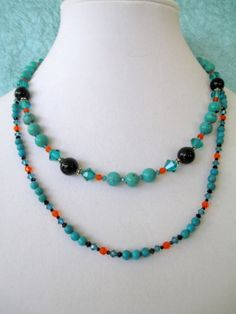 Double Strand of Turquoise mixed with Swarovski Crystal by mdeja, $110.00