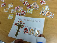 {Freebie} Love using this with my kiddos in fall- CVC word practice- perfect for a word work center!