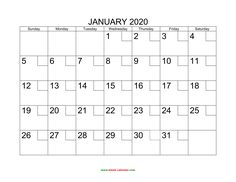 16 Best Blank January 2020 Calendar Printable Template Images