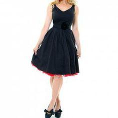 Vintage V-Neck High Waist Sleeveless Black Pleated Dress For Women