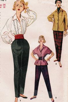 Simplicity 4464: Use this 1950s vintage sewing pattern form misses to sew a pair of slim, sleek pants and a casual blouse or tuxedo-style blouse. - Blouse has front button closing, vertical rows of pin tucks trimmed with ruffles, convertible collar, and long French sleeves gathered to button cuffs. - Overblouse has square-cut silhouette, with shoulder darts, side seam vents, front button closing, convertible collar, and your choice of short French sleeves with turn back cuffs, or long…