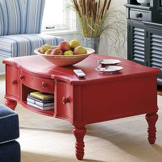"""OMG, love this coffee table!  Coastal coffee table. Love the color and shape!  Overall Dimensions: 20.63"""" H x 44.31"""" W x 32"""" D  (found it at http://www.customfurnitureworld.com/Coastal-Living-Cottage-Storage-Coffee-Table-with-Three-Drawers_p_3869.html, but $899!)(try this Stanley furniture locator: http://catalog.findyourfurniture.com/Item.aspx?ItemID=-1799000039=829-F5-04#WhereToBuy)"""