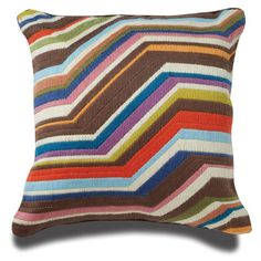Bargello pillows, hand embroidered using long stitches to form elaborate geometric patterns