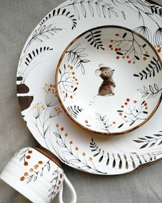 My Owl Barn: Whimsical collection of ceramics by Ukrainian artist Julia Osok . - My Owl Barn: Whimsical collection of ceramics by the Ukrainian artist Julia Osoka - Ceramic Tableware, Ceramic Plates, Ceramic Pottery, Pottery Art, Slab Pottery, Ceramic Decor, Pottery Studio, Kitchenware, Pottery Painting Designs