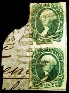 CSA Scott 13 20c Green 1863 Used Attached Vertical PAIR on Piece Rare Civil War item - Browse 1,500 Rare Stamps & Covers http://stores.ebay.com/Little-Art-Treasures