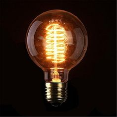 KINGSO 1 Pack Screw Vintage Light Bulb Spiral Globe Retro Old Fashioned Edison Style Tungsten Filament Glass Antique Lamp 64 Anchors