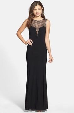 Xscape Beaded Lace & Jersey Gown