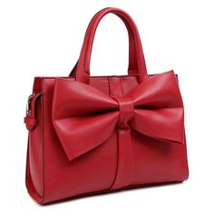 PU Leather Bow Zipper Tote Bag ($35) ❤ liked on Polyvore featuring bags, handbags, tote bags, zip tote, zipper handbag, zipper tote, tote purses and red purse