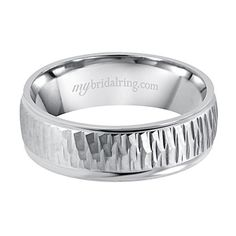 Custom wedding bands and Unique wood designs Engagement Band - White Gold Ring - http://www.mybridalring.com/Mens/unique-wood-design-engagement-ring-in-14k-white-gold/
