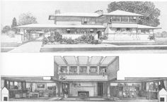 F. L. Wright, project for a home in a Prairie Town, 1901