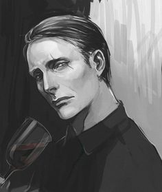 Hannibal Fan Art by 涩江秒困侠 <That's Le Chiffre . . . played by the same actor, but different characters . . .