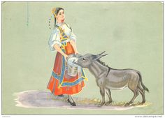 Italia - Donkey, Desulo, Sardegna, Italy postcard posted 1958 stamp