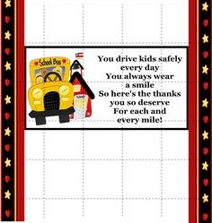Thank You Gift – Gift Ideas Anywhere Bus Driver Gifts, School Bus Driver, School Staff, Last Day Of School, School Fun, School Teacher, School Days, School Buses, School Office