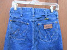 Wrangler Jeans 1970s Dark Wash Straight Leg Denim Vintage