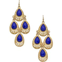Gold and Lapis Blue Teardrops Chandelier Earrings