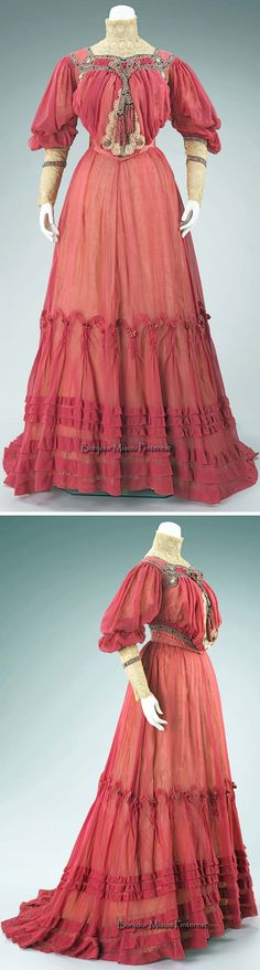 """Afternoon dress, Doucet, ca. 1903. Cotton & silk. """"This afternoon dress is a perfect example of couture during this period. The sheer pink fabric, accented with lace and black and pink ribbon trim, is a dress to be displayed at garden parties and the races. Doucet added interest to his work with his use of unusual trims, illustrating his inventiveness and artistic taste."""" Photos: Lea Christiano. Brooklyn Museum collection at the Metropolitan Museum of Art"""