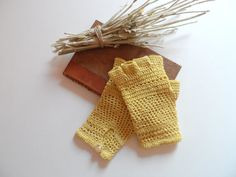 Crochet Lace Gloves. Cotton Crochet Yellow by InoriCreations