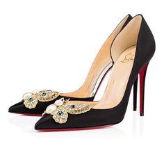 Barzas 100 VERSION BLACK Crepe satin/Satin/Lurex - Women Shoes - Christian Louboutin