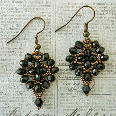"Linda's Crafty Inspirations: Easy Earrings - -5/0 seed beads Miyuki ""Dark Bronze"" (11-457D) 4mm rondelles ""Black - #C04"" (Beads One) 4mm bicones ""Jet - #C04"" (Beads One - no longer available)"