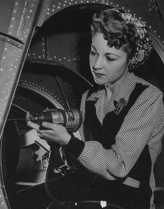 Marion Schultz an employee at the Douglas Aircraft Company, Santa Monica CA, 1943.