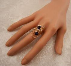 Swirl Cocktail Ring w Ocean Blue Crystals by ShiriDaniella on Etsy, $18.00