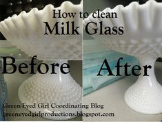 How to clean your milk glass wedding pieces- Green-Eyed Girl Productions use denture cleaner and soak it Konmari, Girl With Green Eyes, Milk Glass Vase, Green Milk Glass, Fenton Milk Glass, Glass Bottles, Glass Dishes, Vintage Glassware, Fenton Glassware