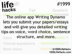 Ideas About DIY Life Hacks & Crafts 2017 / 2018 The online app Writting Dynamo lets you submit your papers/essays and will give you detailed writing tips on voice, word choice, sentence structure and more. -Read More – School Life Hacks, College Life Hacks, School Study Tips, School Tips, College Tips, School Essay, Uni Life, College Planner, Weekly Planner