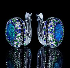 Mousson Atelier...sapphire and emerald earrings