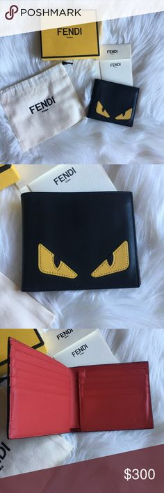 60736acfd56 Authentic FENDI • Black Leather Horizontal Wallet
