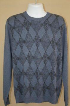 NWT $275 Murano Sport Ultra Soft 100% Cashmere Blue Argyle Pullover Sweater sz L #MuranoSport #Crewneck