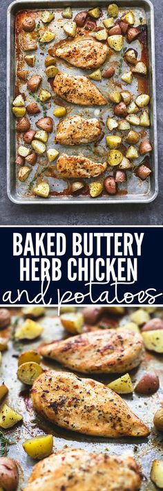 Baked Buttery Herb Chicken & Potatoes Baked Buttery Herb Chicken and Potatoes requires just a few ingredients and is packed with amazing flavor and ready in just 30 minutes! Chicken Potatoes, Recipes With Chicken And Potatoes, Baked Chicken With Vegetables, Baked Chicken Recipes, Baked Chicken Seasoning, Marinade Chicken, Italian Baked Chicken, Frozen Chicken Recipes, Chicken Breast Recipes Healthy