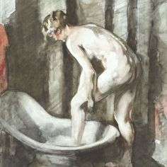 Woman Bathing by Willem Witsen  antique reproduction print. Giclée printed onto 300 gsm textured Cotton Rag museum quality paper using light fast, archival quality pigment inks (frame not included).