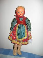 Vintage Polish Doll Poland Jointed Stuffed Cloth Composite Face 14
