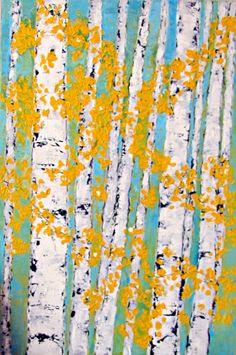 aspen trees; painting