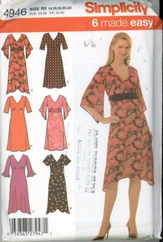 Simplicity 4946 Misses' / Petite Dress sleeve, hem variations Size 14-22 UNCUT - Sewing Patterns