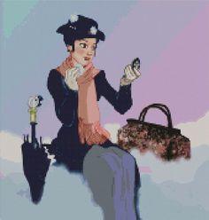 Mary Poppins cross stitch Pattern