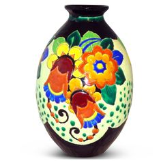 Art Deco pottery vase by Charles Catteau for Boch Freres, Belgium c1930. Height 12 inches